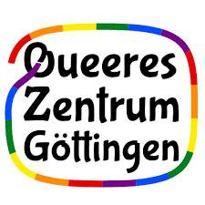 Logo vom Queeren Zentrum: Eine Linie gefärbt in den Regenbogenfarben umschließt die Worte Queeres Zentrum Göttingen.