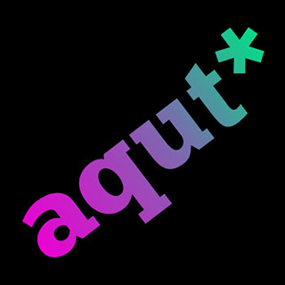 Logo aqut*: Text in schwarzem Quadrat.