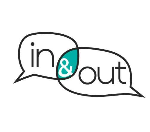 Logo in & out: Schriftzug in zwei sich überlappenden Sprechblasen