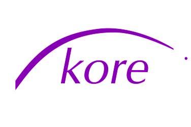Logo von Kore: Eine gebogene Linie über dem Wort Kore.