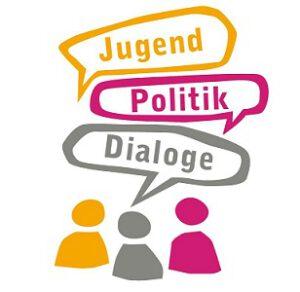 Logo Jugend-Politik-Dialoge: drei stilisierte Personen mit den drei Sprechblasen Jugend, Politik, Dialoge