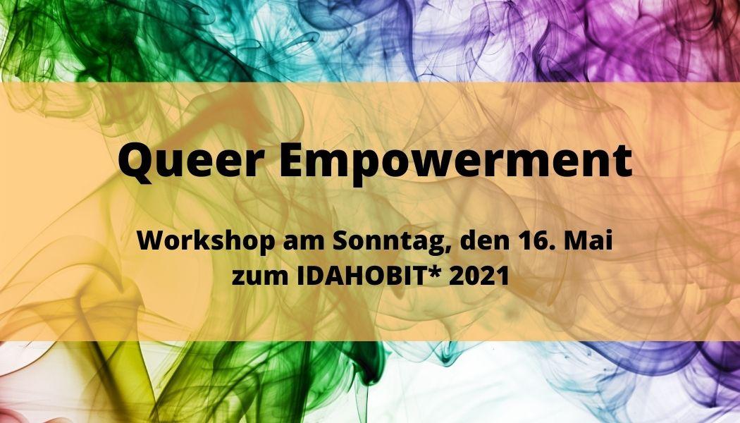 Im Hintergund sind regenbogenfarbende Schlieren zusehen. Darauf steht vor gelblichem Hintergrund der titel und das Datum des Workshops.