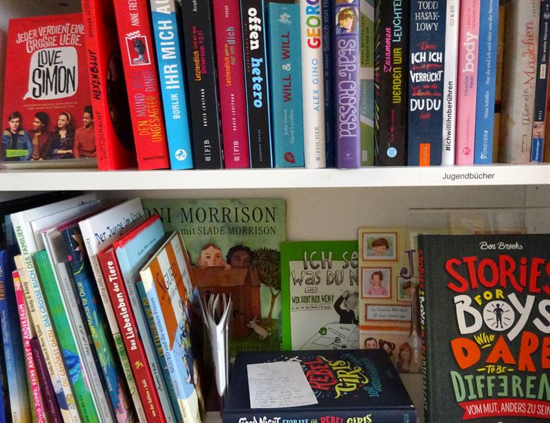Blick auf zwei Regalbretter voll mit themenbezogenen Büchern